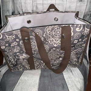 Thirty One 31 Floral Brown Utility Tote Picnic